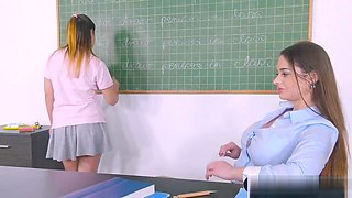 video titel: Busty Teacher Fucks Female Student In Class With A Strapon    porn tgas: busty,female,fuck,strapon,