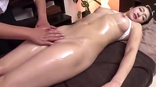 video titel: Hot Japanese Girl Gets Fingered during Message || porn tgas: asian,brunette,fingering,hairy,
