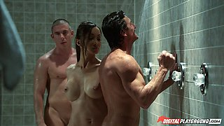 video titel: Asian beauty Katsuni double teamed in the gym showers || porn tgas: asian,beauty,double,fitness,anyporn