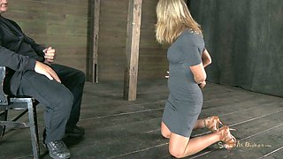 video titel: Talkative bitch Simone Sonay gets her hands tied up and has to suck a cock || porn tgas: bdsm,bitch,blonde,blowjob,anysex