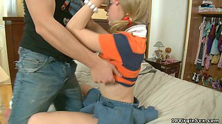 video titel: Pretty blonde teen makes love with her horny coed in her bedroom || porn tgas: bed,blonde,coed,horny,xcafe