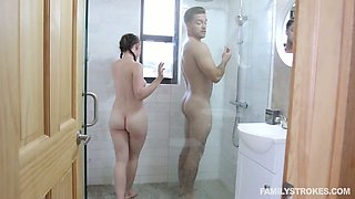 video titel: Lecherous teen Athena Rayne gets intimate with her sex hungry step brother || porn tgas: bathroom,big tits,blowjob,brother,anysex