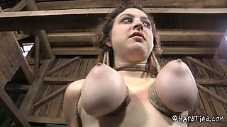 video titel: Busty chick with tied up and suspended boobs is waiting for punishment || porn tgas: bdsm,beautiful,big tits,bondage,anysex