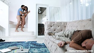 video titel: Step niece Claire Black is craving for dirty quickie in front f sleeping stepdad || porn tgas: ass,beautiful,black,blowjob,anysex