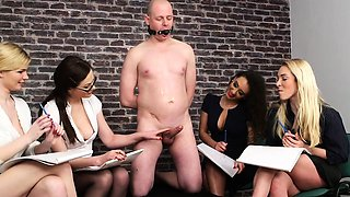video titel: CFNM femdoms humiliating ballgagged dude || porn tgas: blonde,brunette,cfnm,dude,drtuber