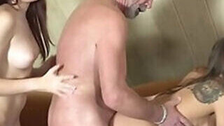 video titel: Kinky old guy has two pussies to choose from || porn tgas: 3some,blowjob,cum,double,PornoSex