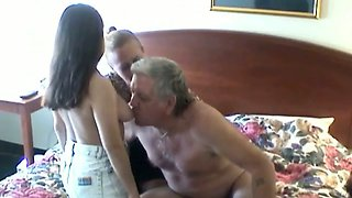 video titel: Elderly man enjoys having FFM threesome sex with two skanks || porn tgas: 3some,big tits,blowjob,enjoying,mylust