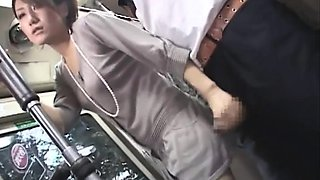 video titel: Horny brunette give B J handjob on bus || porn tgas: asian,big tits,brunette,car,drtuber