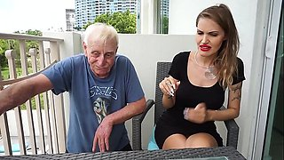 video titel: Skinny blonde smoking backstage with an old grandpa || porn tgas: blonde,grandpa,old and young,skinny,anyporn