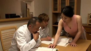 video titel: Stacked Oriental milf gets treated to a hardcore threesome || porn tgas: 3some,asian,big tits,blowjob,
