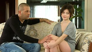 video titel: Cute short haired virgin Marfa Piroshka is shy on casting || porn tgas: brunette,casting,cute,first time,