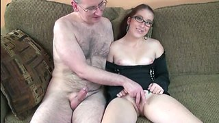 video titel: Nerdy redhead gal sucks and rides a cock in the living room || porn tgas: cock,nerd,redhead,mylust