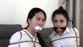 video titel: Chinese secretaries in white shirts are thoroughly gagged    porn tgas: asian,bdsm,brunette,chinese,