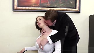 video titel: Massive Boobs Boss Milf At The Office || porn tgas: big tits,blowjob,boobs,boss,