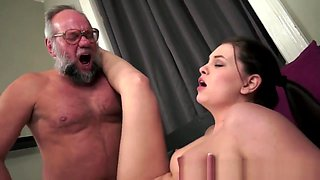 video titel: Teenie Babe Creampied By Grandpa || porn tgas: babe,brunette,creampie,european,