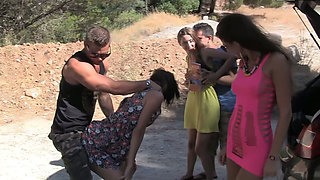 video titel: Summer party with sweet brunette college chicks and hard big cocks somwhere outdoors || porn tgas: amateur,babe,big cock,brunette,xcafe