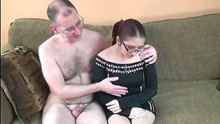 video titel: Nerdy redhead gal sucks and rides a cock in the living room || porn tgas: blowjob,classic,cock,glasses,mylust